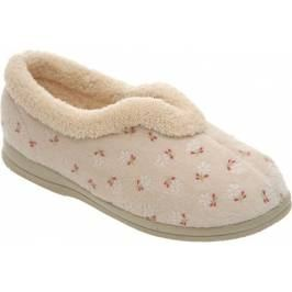 Cosyfeet Dozy Extra Roomy Women's Slippers - Beige Floral 9 Women's Footwear