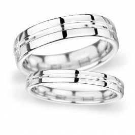 7mm D Shape Heavy Grooved polished finish Wedding Ring in 18 Carat White Gold London